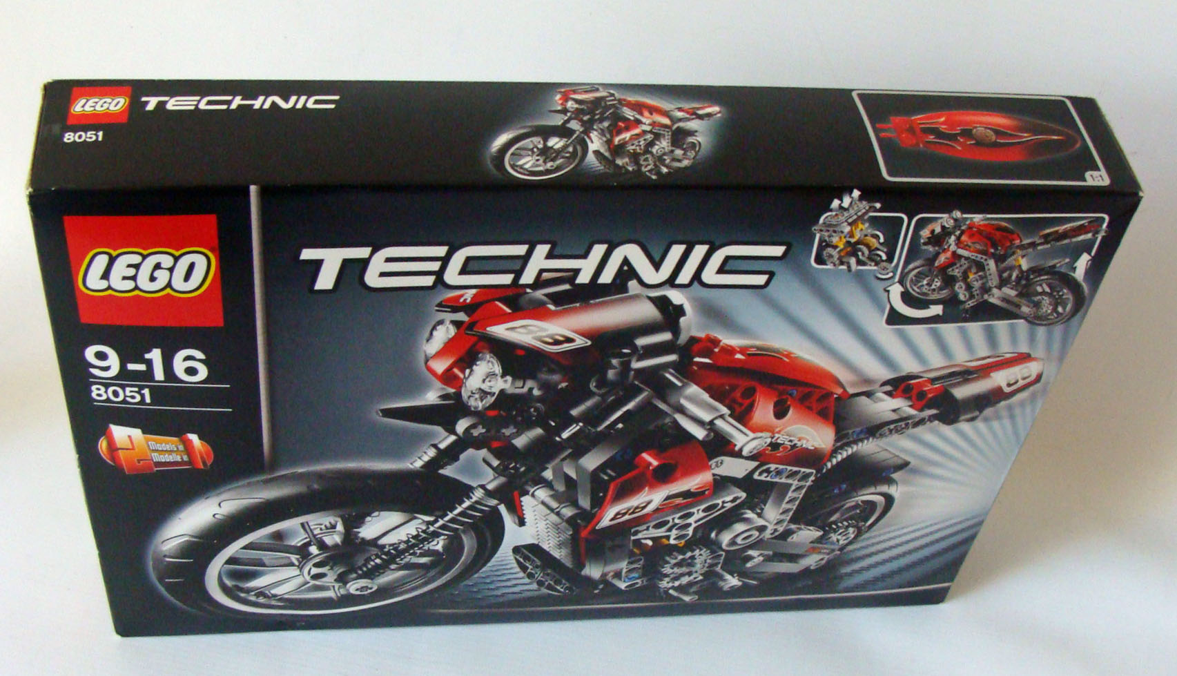 lego technic 8051 motorrad 467 teile 9 16 jahren neu. Black Bedroom Furniture Sets. Home Design Ideas